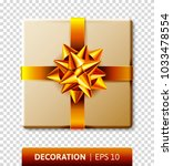 wrapped gift box with ribbon... | Shutterstock .eps vector #1033478554