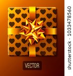 wrapped gift box with ribbon... | Shutterstock .eps vector #1033478560