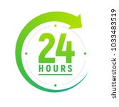 24 hours a day icon. green... | Shutterstock .eps vector #1033483519