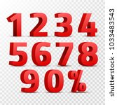 set of 3d red numbers sign. 3d... | Shutterstock .eps vector #1033483543