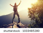 successful hiker with arms... | Shutterstock . vector #1033485280