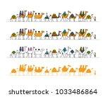 camels caravan  sketch for your ... | Shutterstock .eps vector #1033486864
