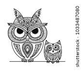 ornate owl  zenart for your... | Shutterstock .eps vector #1033487080