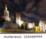 night view of palais des papes  ... | Shutterstock . vector #1033489999