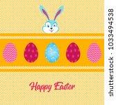 easter eggs over yellow strip... | Shutterstock .eps vector #1033494538