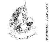 unicorn. hand drawn vector... | Shutterstock .eps vector #1033498546