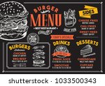 burger restaurant menu. vector... | Shutterstock .eps vector #1033500343
