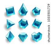 gems set. cartoon blue... | Shutterstock .eps vector #1033501729
