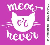 meow or never   hand drawn... | Shutterstock .eps vector #1033504420