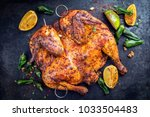 spatchcocked barbecue chicken... | Shutterstock . vector #1033504483