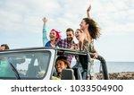 happy tourists friends doing... | Shutterstock . vector #1033504900