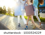 beautiful girls with packages... | Shutterstock . vector #1033524229
