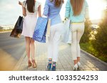 beautiful girls with packages... | Shutterstock . vector #1033524253