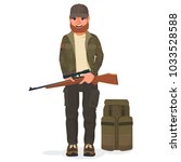 hunter character. a hunter with ... | Shutterstock .eps vector #1033528588