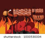 grilled barbecue beef steak... | Shutterstock .eps vector #1033530334