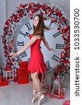 nice ballet dancer in red dress ... | Shutterstock . vector #1033530700