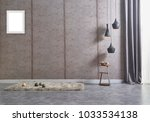 grey wall and grey lamp with... | Shutterstock . vector #1033534138