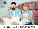happy modern young couple... | Shutterstock . vector #1033534780