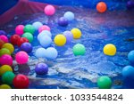 colorful balls in plastic... | Shutterstock . vector #1033544824