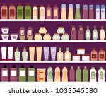 shelves with colorful cosmetic... | Shutterstock .eps vector #1033545580
