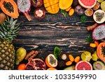 tropical fruits  papaya  dragon ... | Shutterstock . vector #1033549990