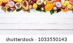 tropical fruits  papaya  dragon ...   Shutterstock . vector #1033550143