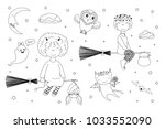 hand drawn black and white... | Shutterstock .eps vector #1033552090