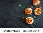 italian bruschetta with chopped ... | Shutterstock . vector #1033557016