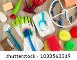 household utensils for hygiene... | Shutterstock . vector #1033563319