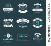 seafood restaurant logos set... | Shutterstock .eps vector #1033567573
