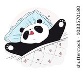 cute sleeping panda bear.... | Shutterstock .eps vector #1033570180