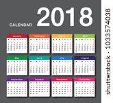 colorful calendar year 2018... | Shutterstock .eps vector #1033574038