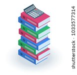 the pile of multicolored office ...   Shutterstock .eps vector #1033577314