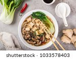 asian vegan noodle soup with...   Shutterstock . vector #1033578403