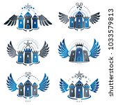 ancient citadels emblems set.... | Shutterstock .eps vector #1033579813