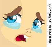 cartoon girl crying expression... | Shutterstock .eps vector #1033582474