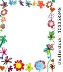 vertical flowers frame  child... | Shutterstock . vector #103358348
