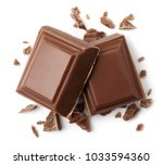 two pieces of milk chocolate... | Shutterstock . vector #1033594360