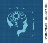 silhouette of a woman head. iq... | Shutterstock . vector #1033595488