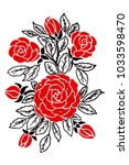 red roses with a black pattern... | Shutterstock .eps vector #1033598470