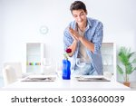 man alone preparing for... | Shutterstock . vector #1033600039