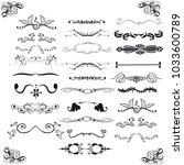 set of horizontal calligraphic... | Shutterstock .eps vector #1033600789