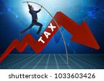 businessman jumping over tax in ... | Shutterstock . vector #1033603426