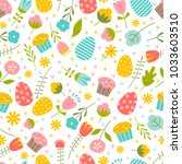 Vector seamless pattern on Easter theme. Easter Spring background with flowers and eggs. - stock vector