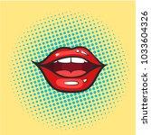 pop art glossy vector lips.... | Shutterstock .eps vector #1033604326
