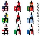 man silhouette sitting on world ... | Shutterstock .eps vector #1033608088