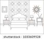 bedroom interior. hotel retro...   Shutterstock .eps vector #1033609528