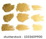 gold paint smear stroke stain... | Shutterstock . vector #1033609900