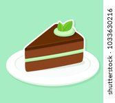 mint and chocolate cake slice... | Shutterstock .eps vector #1033630216