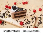 piece of chocolate cake and... | Shutterstock . vector #1033635088